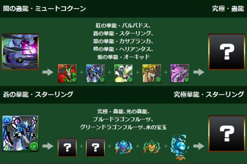 【パズドラ】闇の蟲龍・ミュートコクーン&蒼の華龍・スターリングの究極進化材料