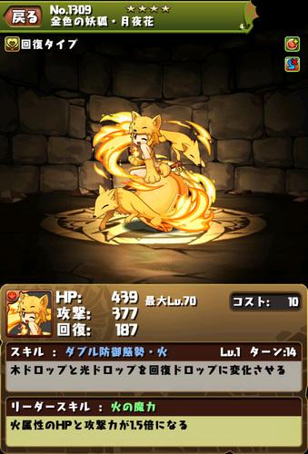 【パズドラ】金色の妖狐・月夜花【ROコラボ】